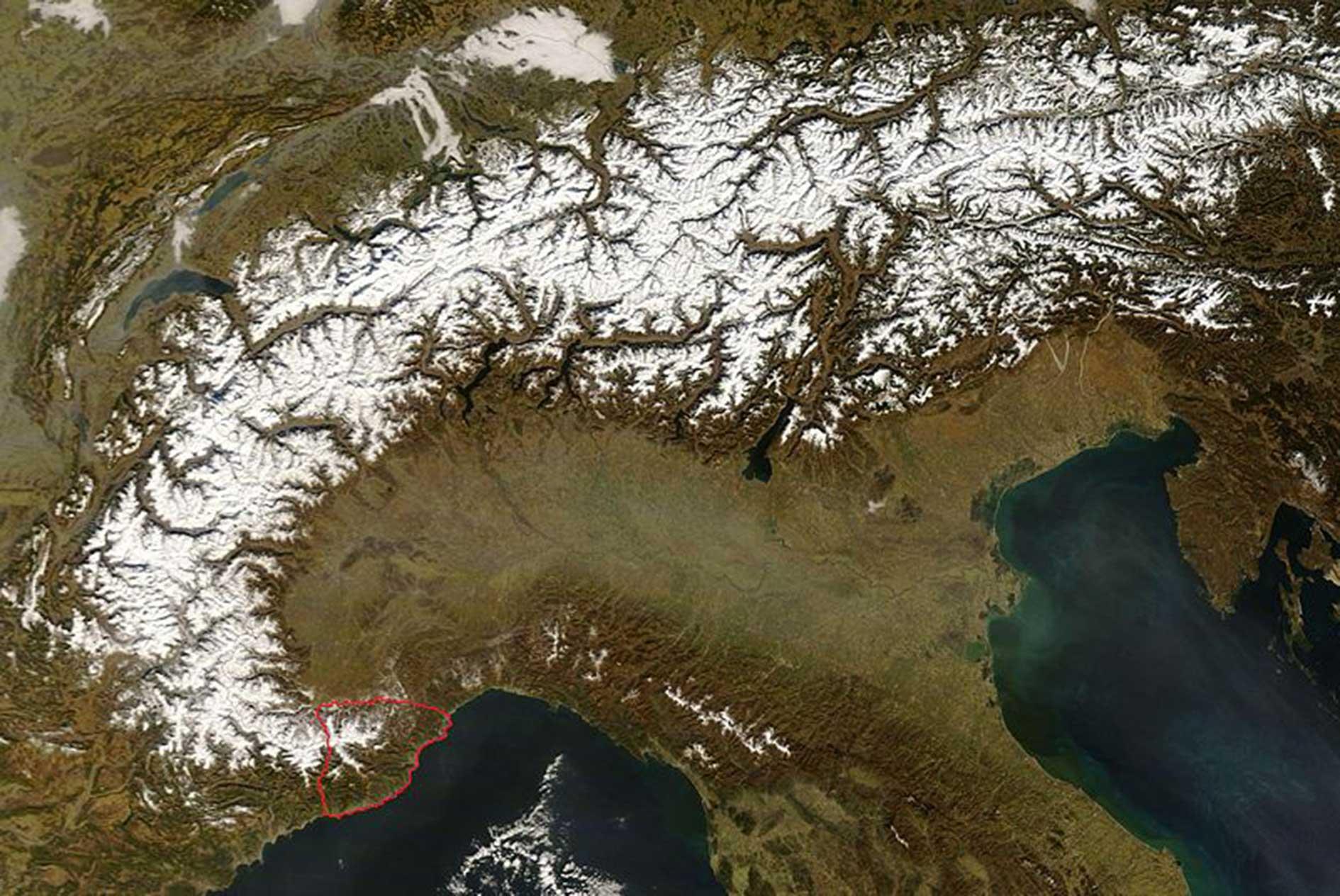 Alpi Liguri dal satellite